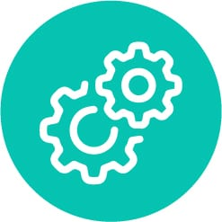 settings icon in turquoise