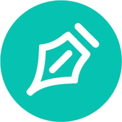 creative writing icon in turquoise