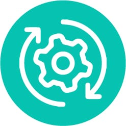 processes icon in turquoise