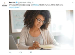 Recruitment marketing job listing on Twitter