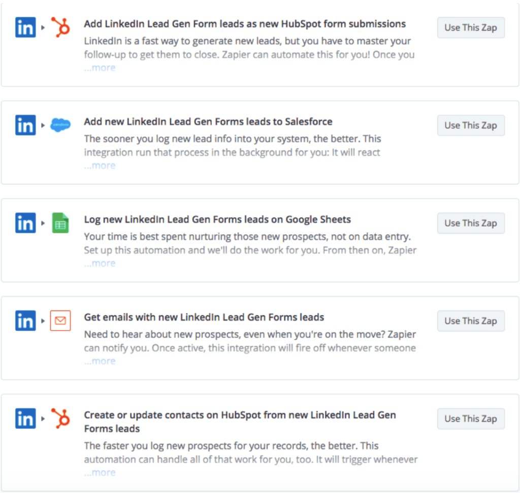 Zapier Integrations options for LinkedIn Lead Generation Forms