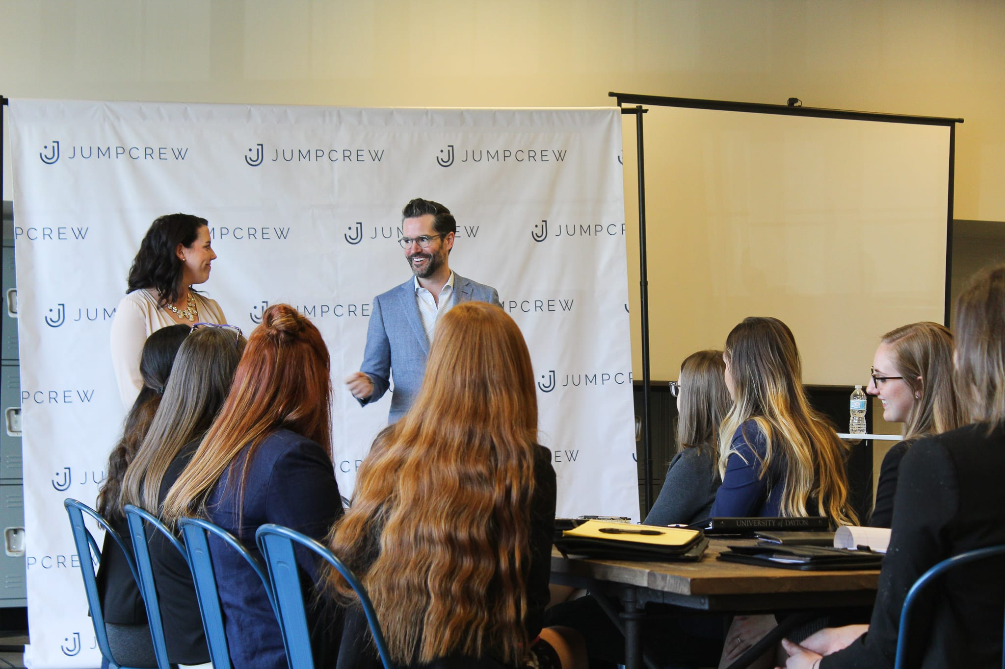Students meeting with marketing company, JumpCrew