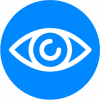 graphic on an eye in blue