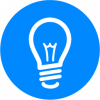 ideas graphic in blue