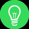 idea light bulb in green