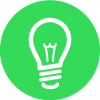idea light bulb in green